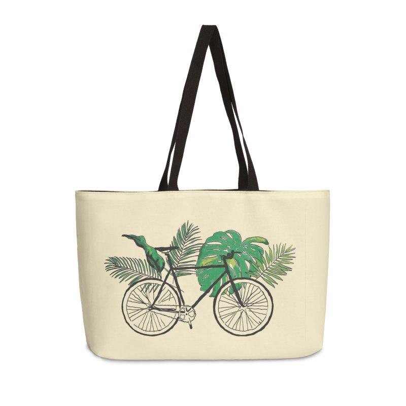 bike with tropical plants Accessories Weekender Bag Bag by sebastiansrd's Artist Shop