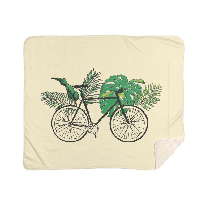 bike with tropical plants Home Sherpa Blanket Blanket by sebastiansrd's Artist Shop