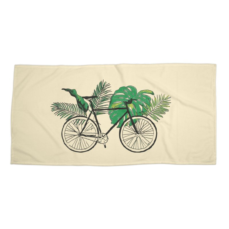 bike with tropical plants Accessories Beach Towel by sebastiansrd's Artist Shop