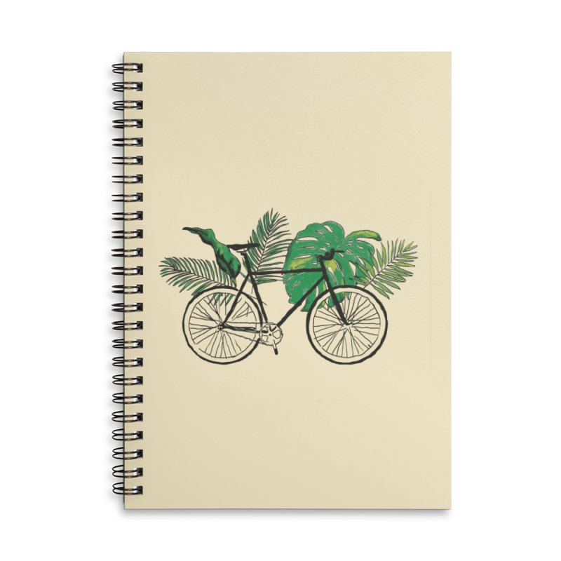 bike with tropical plants Accessories Lined Spiral Notebook by sebastiansrd's Artist Shop