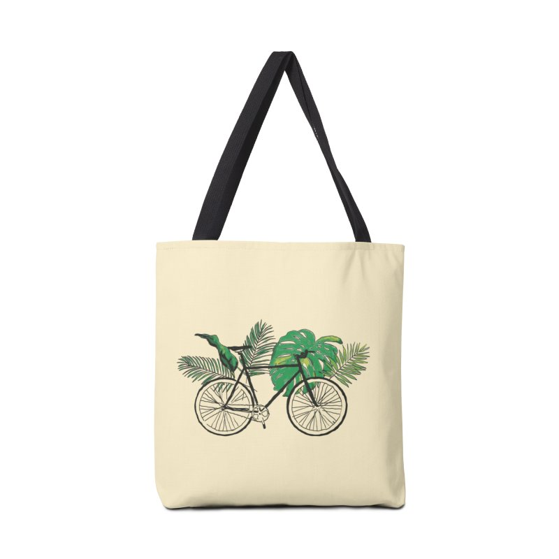 bike with tropical plants Accessories Tote Bag Bag by sebastiansrd's Artist Shop