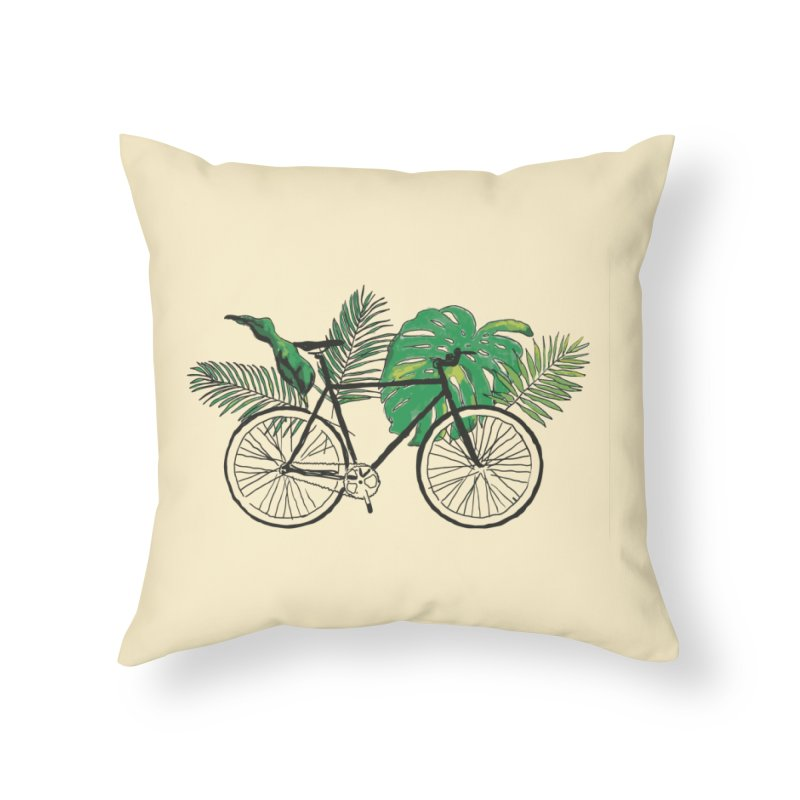 bike with tropical plants Home Throw Pillow by sebastiansrd's Artist Shop