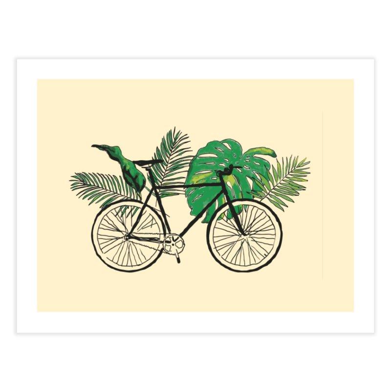 bike with tropical plants Home Fine Art Print by sebastiansrd's Artist Shop