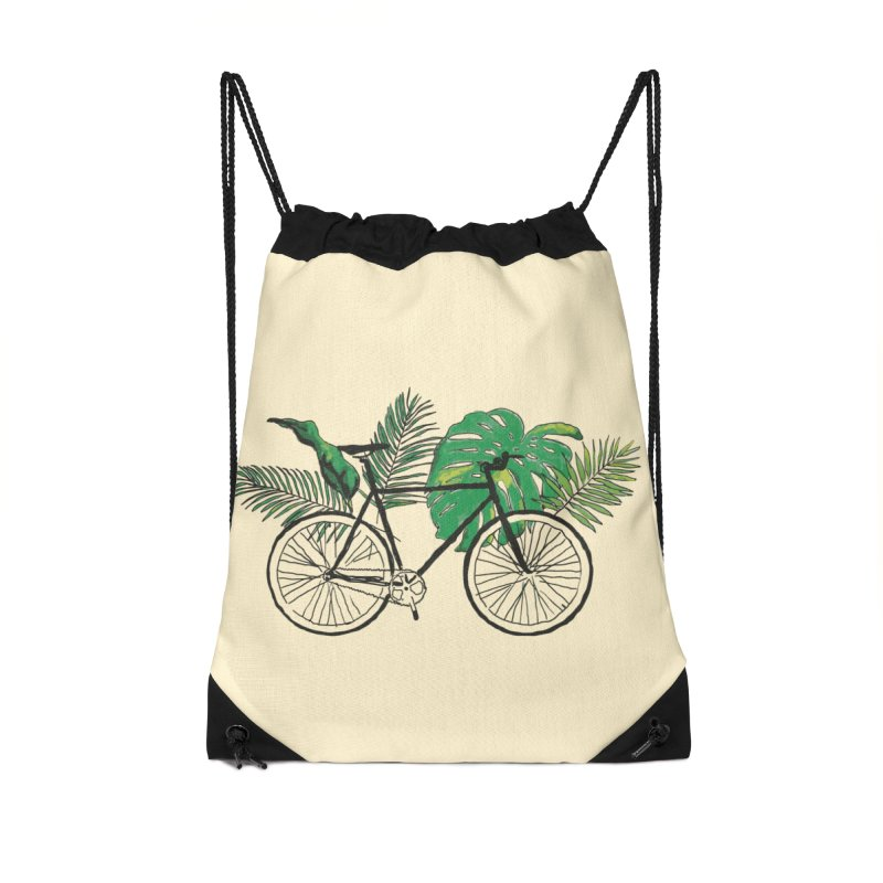 bike with tropical plants Accessories Drawstring Bag Bag by sebastiansrd's Artist Shop