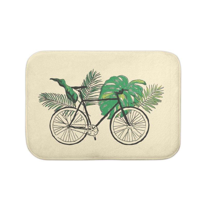 bike with tropical plants Home Bath Mat by sebastiansrd's Artist Shop