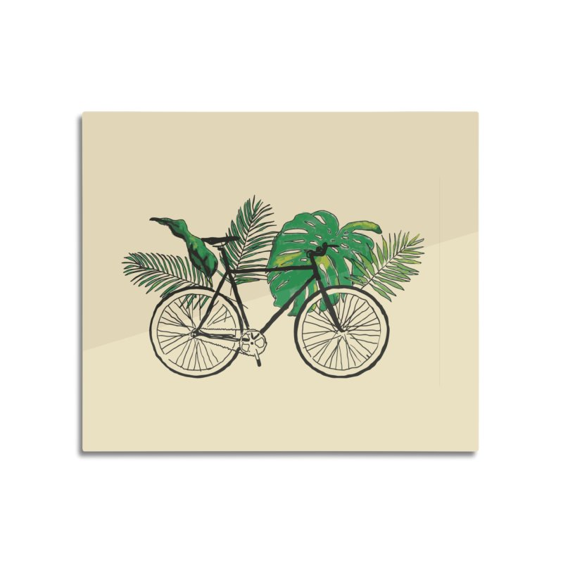 bike with tropical plants Home Mounted Acrylic Print by sebastiansrd's Artist Shop