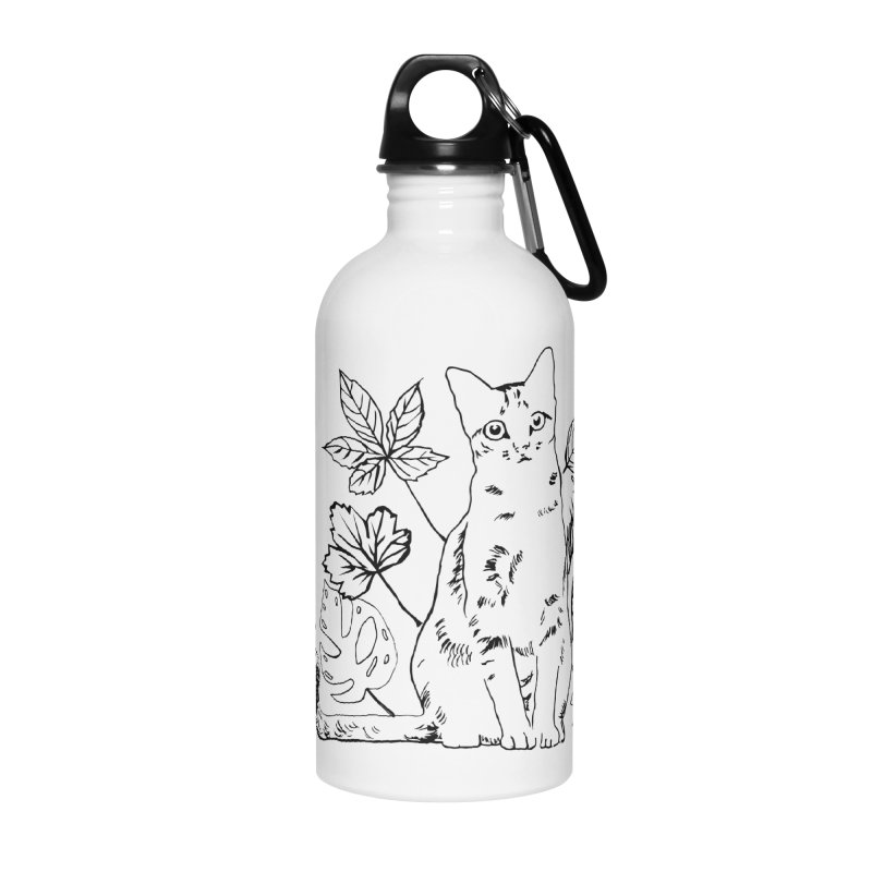 Catm with plants Accessories Water Bottle by sebastiansrd's Artist Shop