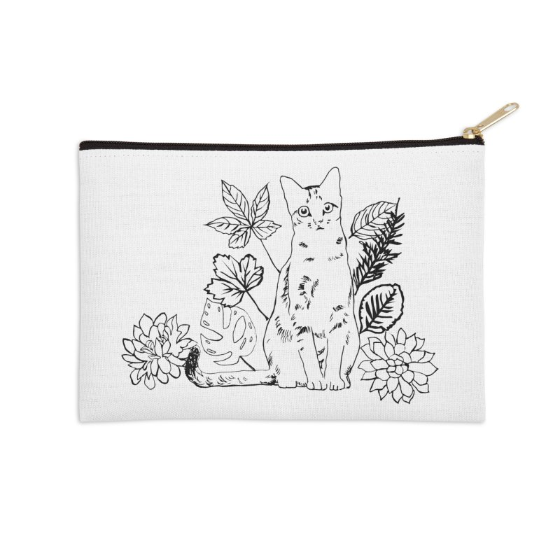 Catm with plants Accessories Zip Pouch by sebastiansrd's Artist Shop