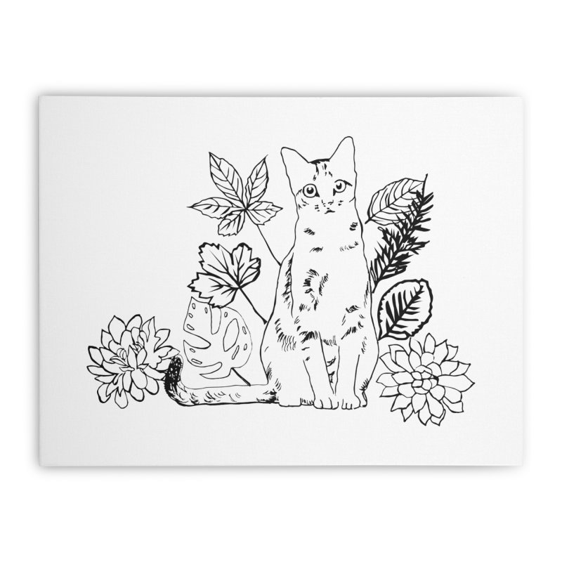 Catm with plants Home Stretched Canvas by sebastiansrd's Artist Shop