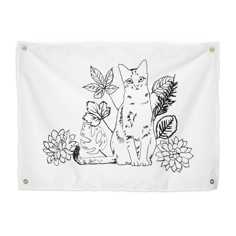 Catm with plants Home Tapestry by sebastiansrd's Artist Shop