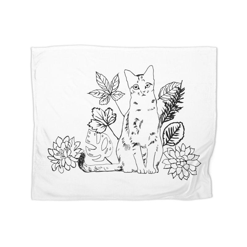 Catm with plants Home Fleece Blanket Blanket by sebastiansrd's Artist Shop