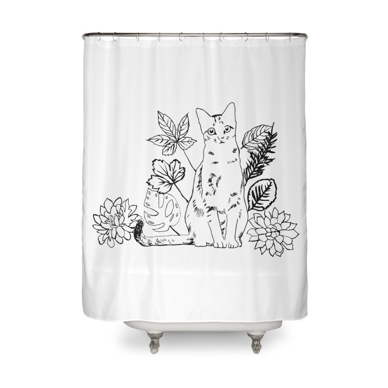 Catm with plants Home Shower Curtain by sebastiansrd's Artist Shop