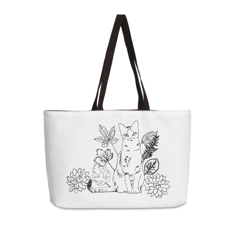 Catm with plants Accessories Weekender Bag Bag by sebastiansrd's Artist Shop