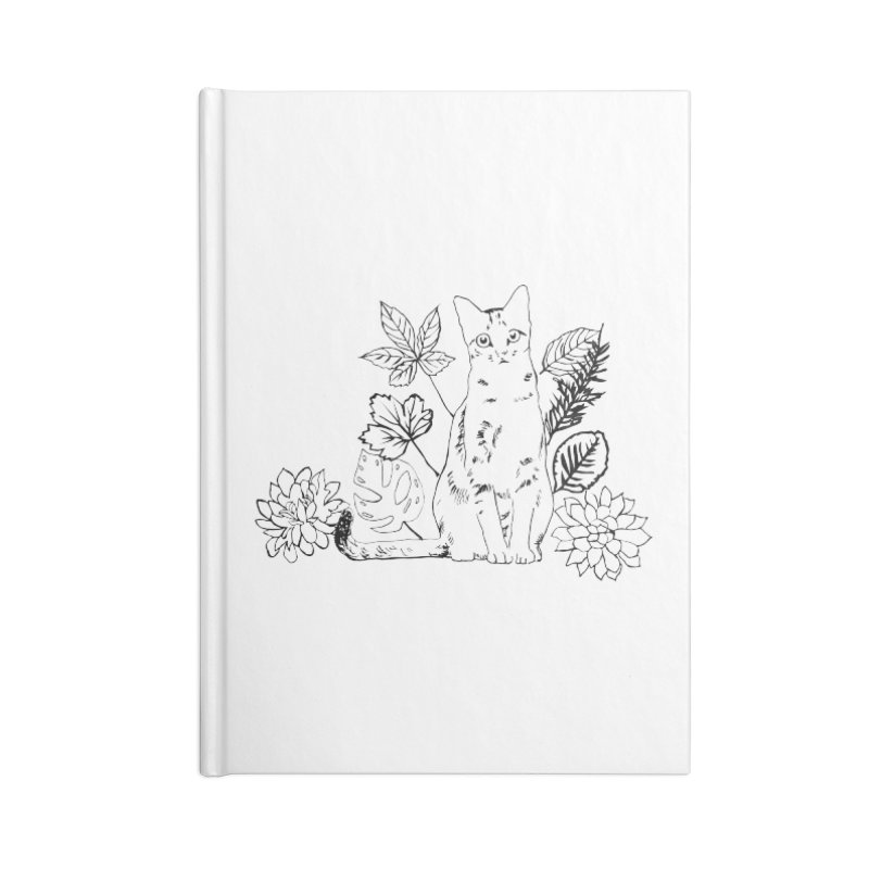 Catm with plants Accessories Blank Journal Notebook by sebastiansrd's Artist Shop