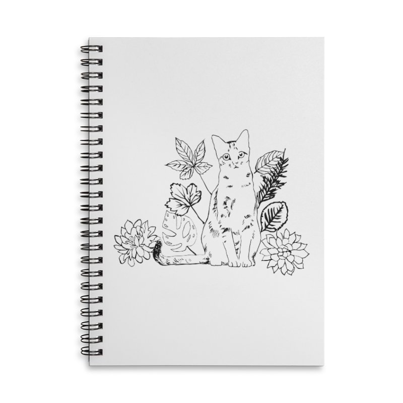 Catm with plants Accessories Lined Spiral Notebook by sebastiansrd's Artist Shop