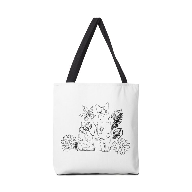 Catm with plants Accessories Tote Bag Bag by sebastiansrd's Artist Shop