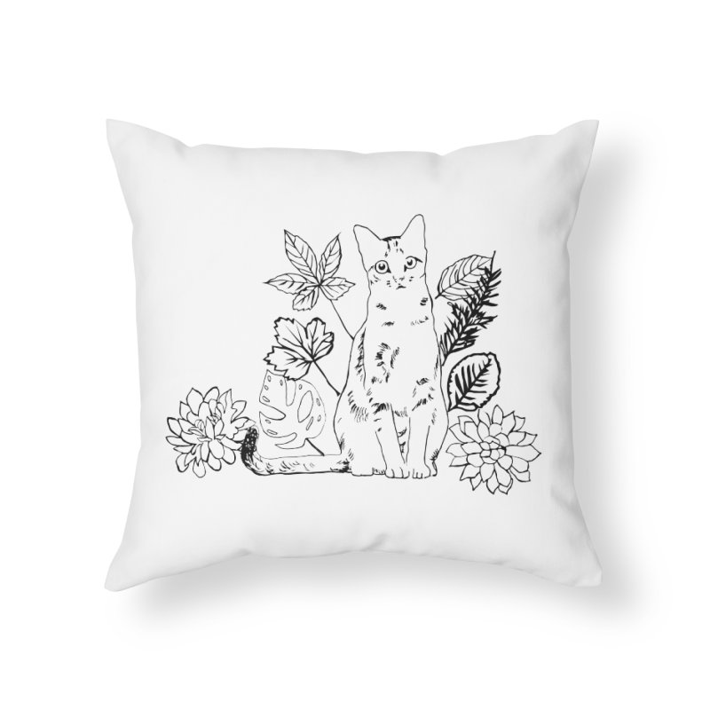 Catm with plants Home Throw Pillow by sebastiansrd's Artist Shop
