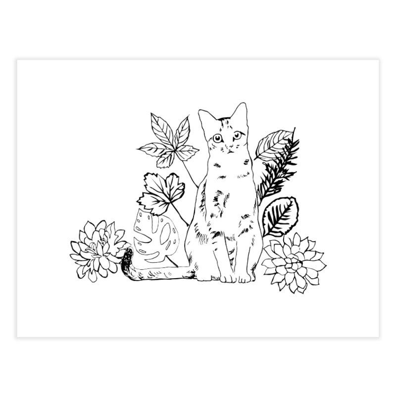 Catm with plants Home Fine Art Print by sebastiansrd's Artist Shop