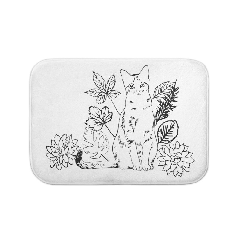 Catm with plants Home Bath Mat by sebastiansrd's Artist Shop