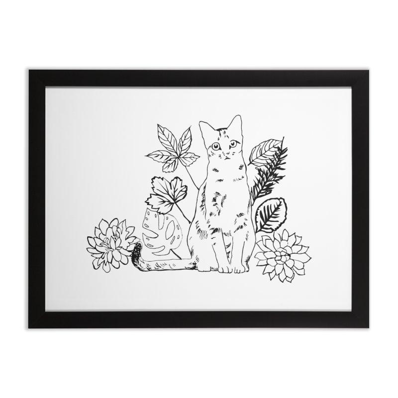 Catm with plants Home Framed Fine Art Print by sebastiansrd's Artist Shop