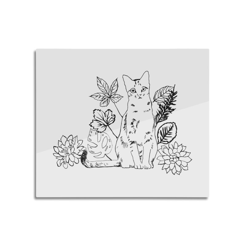 Catm with plants Home Mounted Acrylic Print by sebastiansrd's Artist Shop