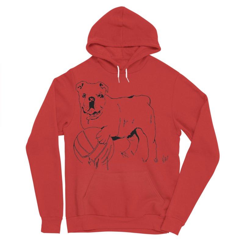 dog with ball Men's Sponge Fleece Pullover Hoody by sebastiansrd's Artist Shop