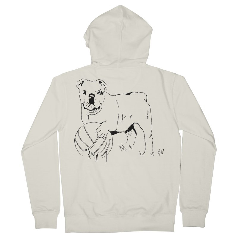dog with ball Men's French Terry Zip-Up Hoody by sebastiansrd's Artist Shop
