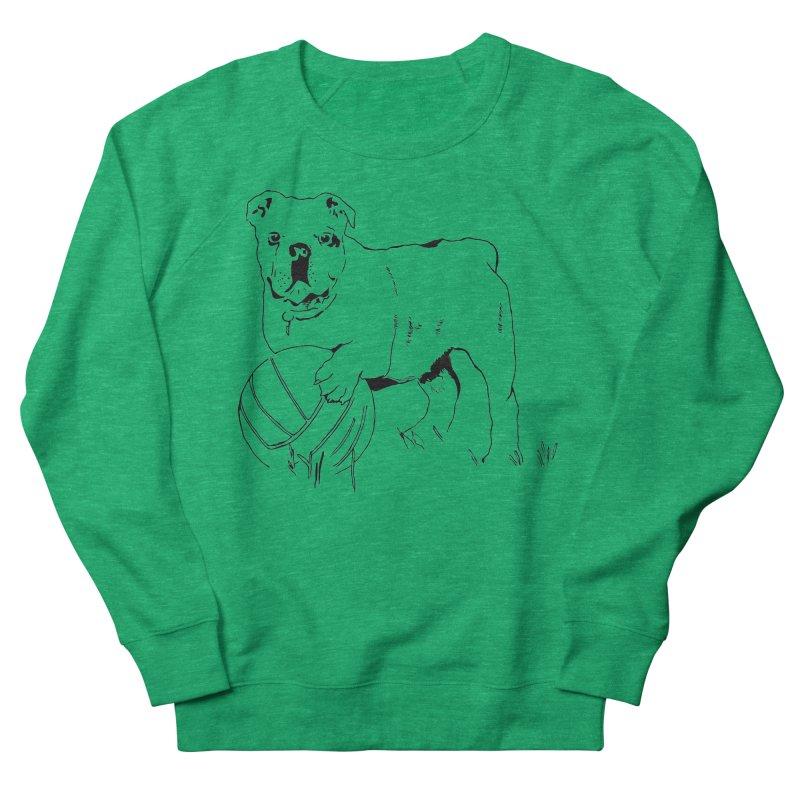 dog with ball Men's French Terry Sweatshirt by sebastiansrd's Artist Shop