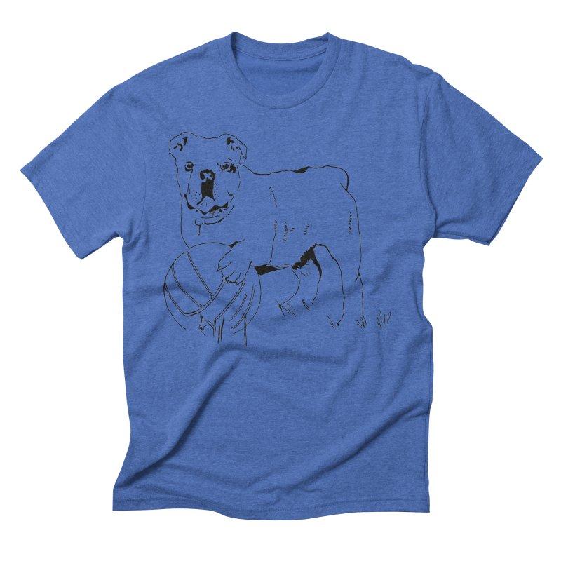 dog with ball Men's Triblend T-Shirt by sebastiansrd's Artist Shop
