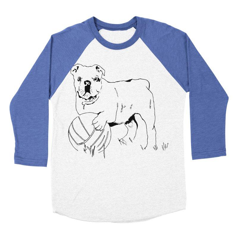 dog with ball Men's Baseball Triblend Longsleeve T-Shirt by sebastiansrd's Artist Shop