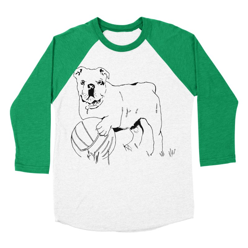 dog with ball Men's Baseball Triblend Longsleeve T-Shirt by sebastiansrd's Artist Shop