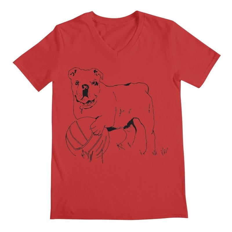 dog with ball Men's Regular V-Neck by sebastiansrd's Artist Shop