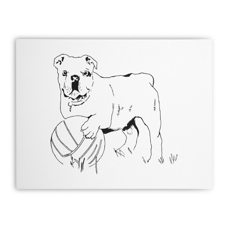 dog with ball Home Stretched Canvas by sebastiansrd's Artist Shop