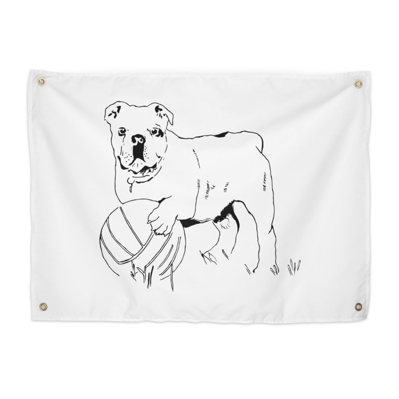 dog with ball Home Tapestry by sebastiansrd's Artist Shop