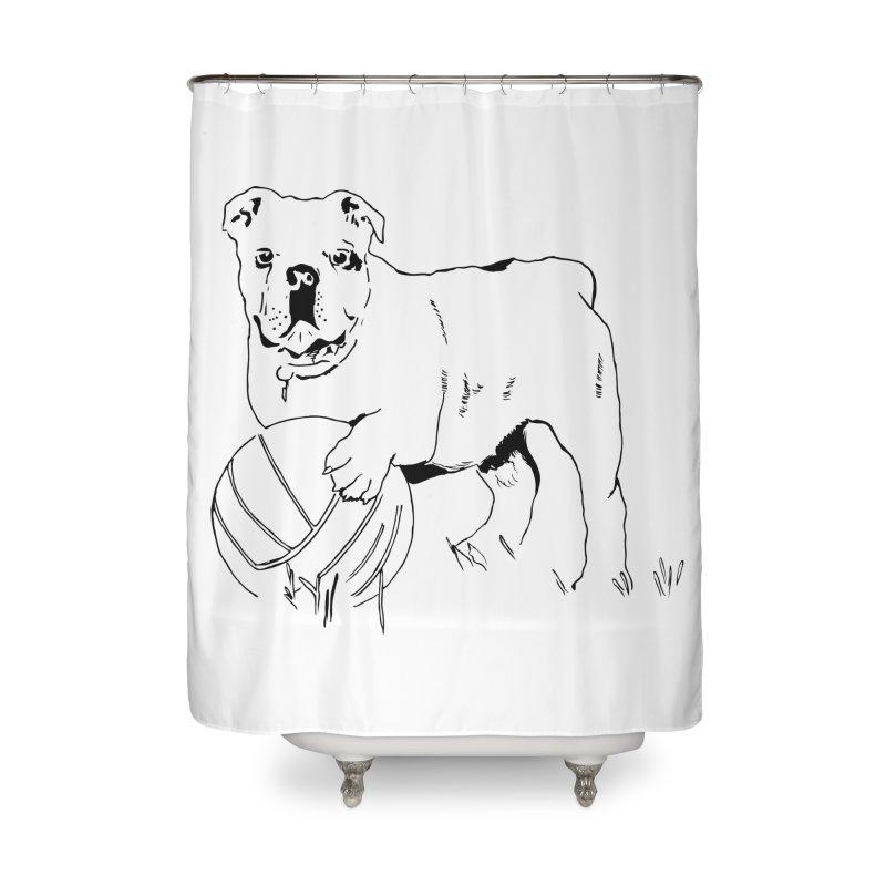 dog with ball Home Shower Curtain by sebastiansrd's Artist Shop