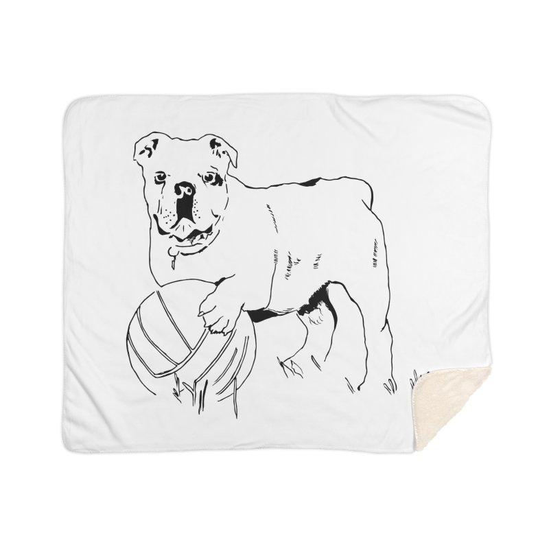 dog with ball Home Sherpa Blanket Blanket by sebastiansrd's Artist Shop