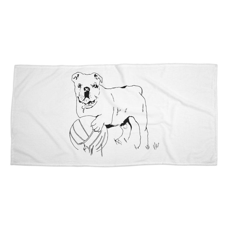 dog with ball Accessories Beach Towel by sebastiansrd's Artist Shop
