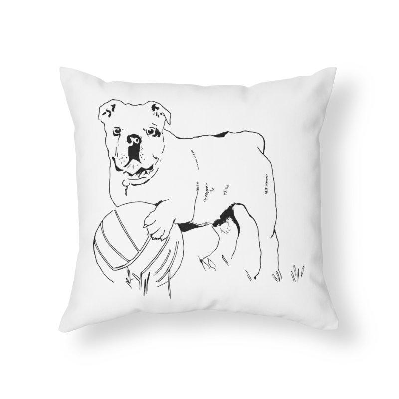 dog with ball Home Throw Pillow by sebastiansrd's Artist Shop