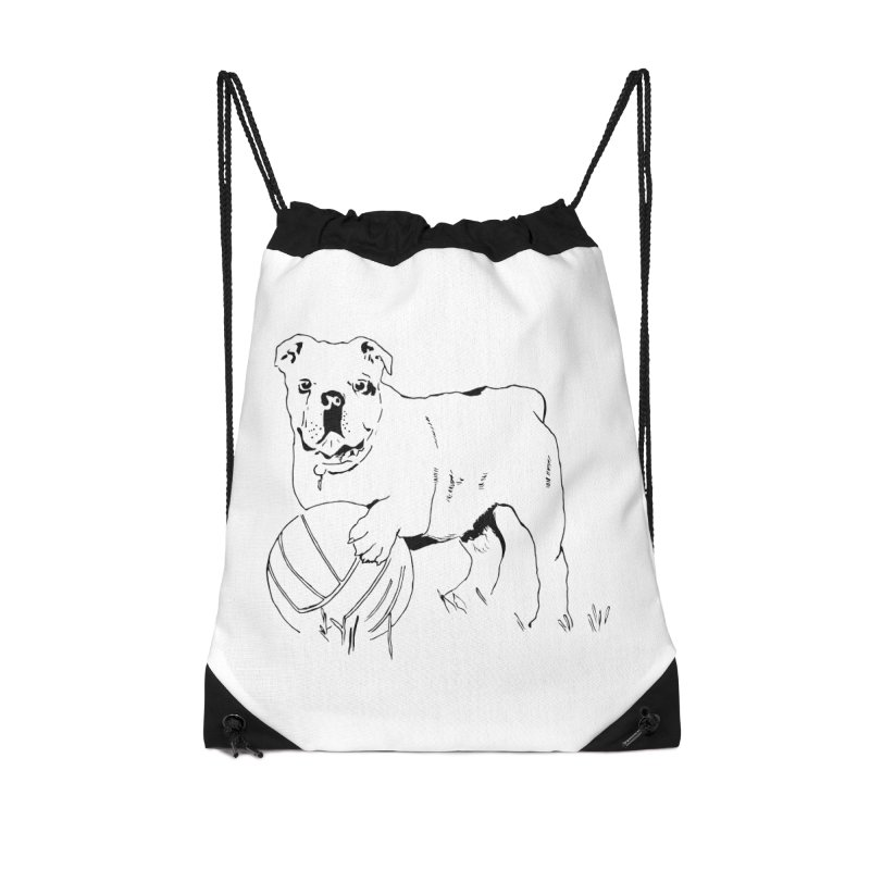 dog with ball Accessories Drawstring Bag Bag by sebastiansrd's Artist Shop