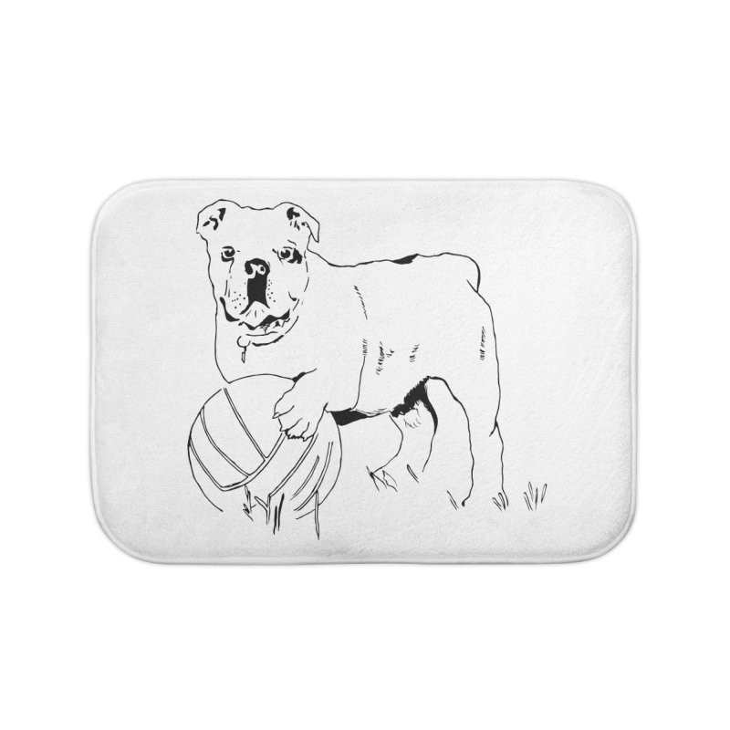dog with ball Home Bath Mat by sebastiansrd's Artist Shop