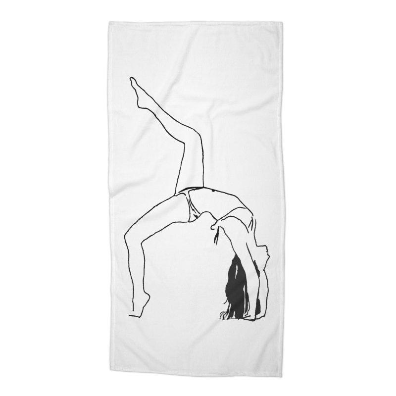 chica haciendo yoga Accessories Beach Towel by sebastiansrd's Artist Shop