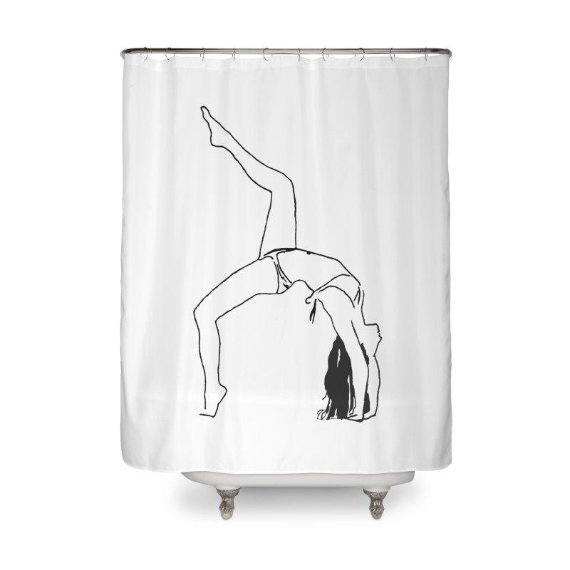 chica haciendo yoga Home Shower Curtain by sebastiansrd's Artist Shop
