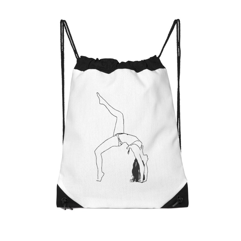 chica haciendo yoga Accessories Drawstring Bag Bag by sebastiansrd's Artist Shop