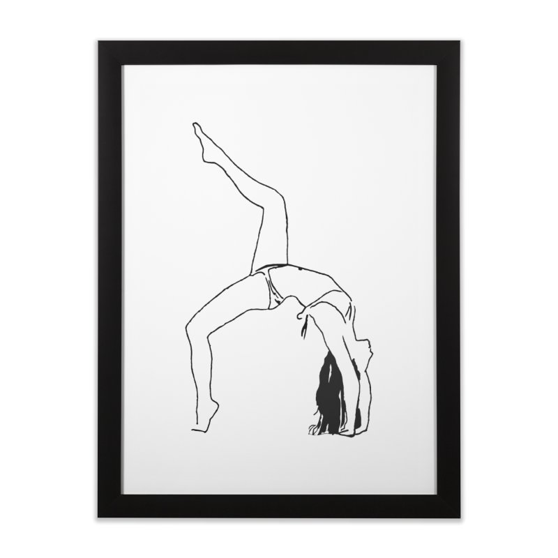 chica haciendo yoga Home Framed Fine Art Print by sebastiansrd's Artist Shop