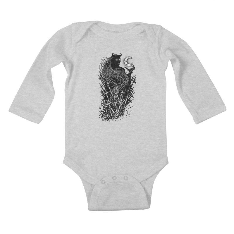 Black satan Kids Baby Longsleeve Bodysuit by sebrodbrick's Artist Shop