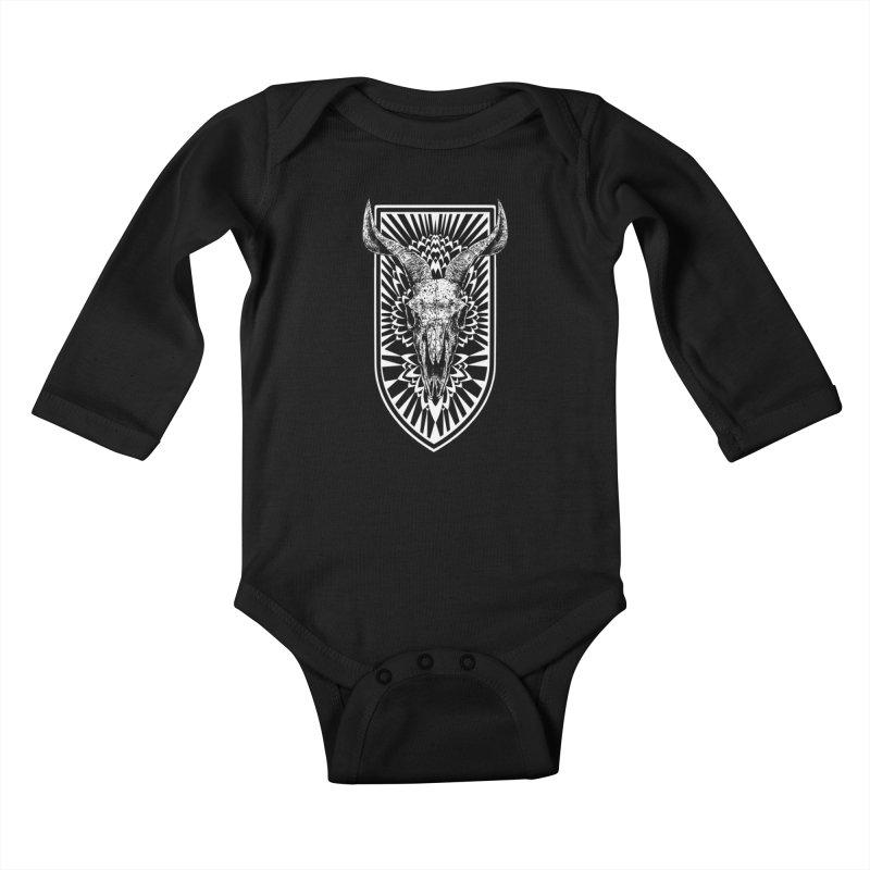 Blooming skull Kids Baby Longsleeve Bodysuit by sebrodbrick's Artist Shop