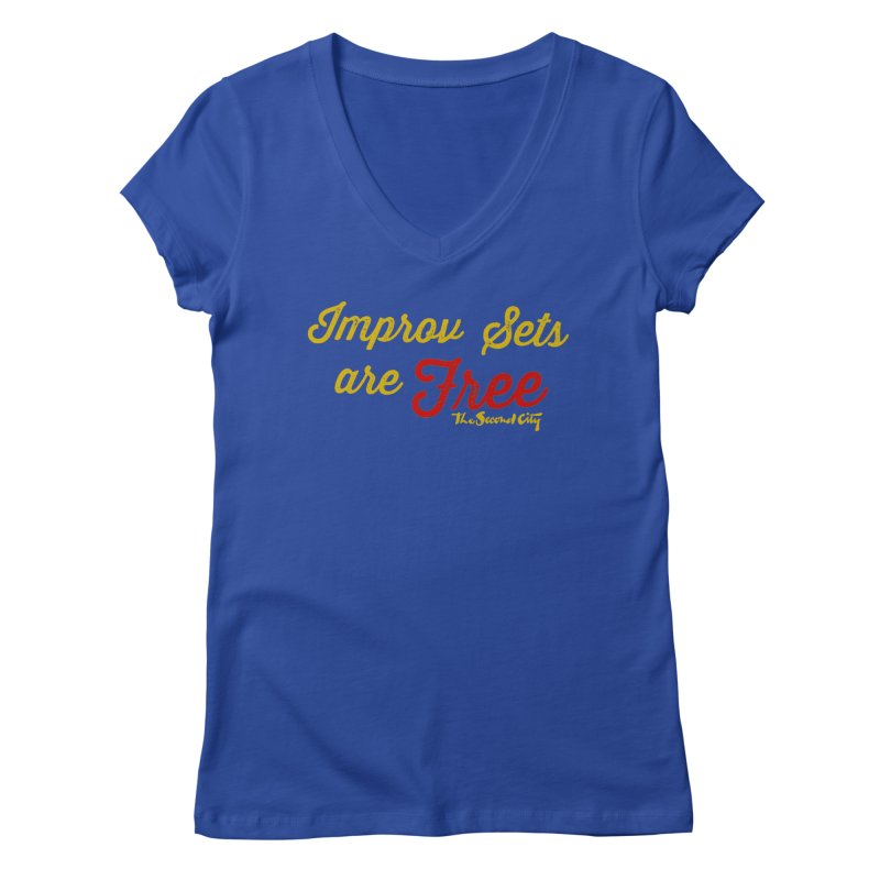 Improv Sets are Free in Women's Regular V-Neck Royal Blue by The Second City