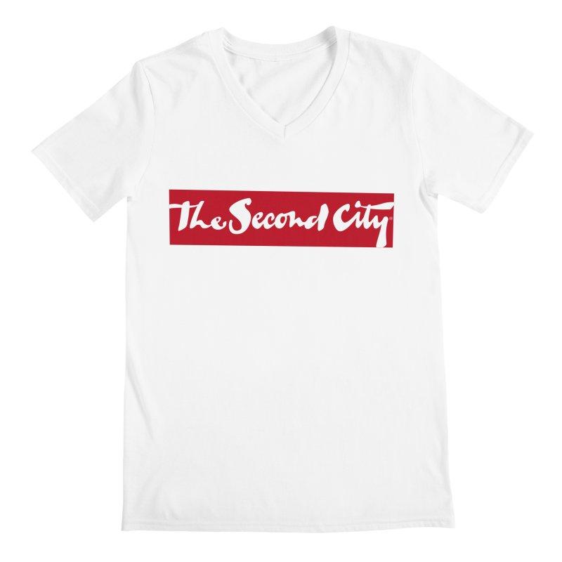 Red Flag in Men's Regular V-Neck White by The Second City