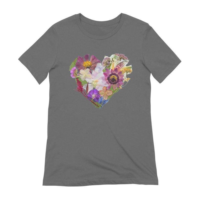 Pressed flower heart Women's T-Shirt by Seek & Bloom Creative Co