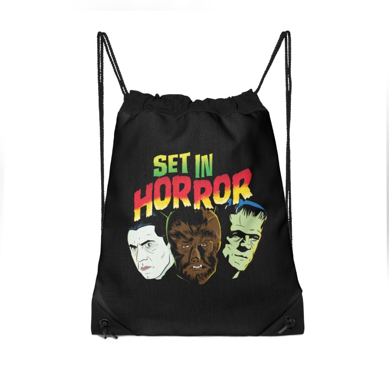 Set in Horror 2019 Logo Accessories Drawstring Bag Bag by See Monsters's Artist Shop